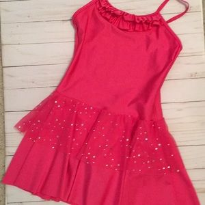 Bright Pink Dance Leotard with attached skirt
